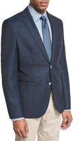 BOSS Windowpane-Check Wool Sport Coat, Navy/Teal