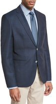 HUGO BOSS Windowpane-Check Wool Sport Coat, Navy/Teal