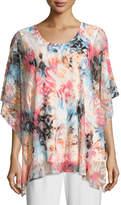 Caroline Rose Pink Sky Burnout Caftan-Style Top, Plus Size