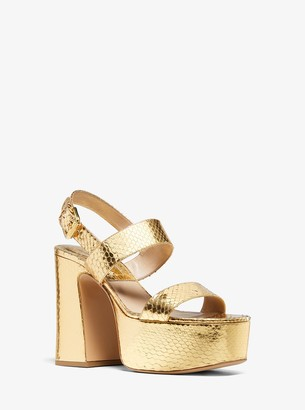 Michael Kors Blaire Metallic Snakeskin Platform Sandal