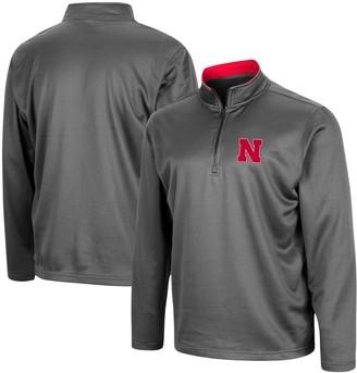 Colosseum Men's Charcoal Nebraska Huskers Big & Tall Fleece Quarter-Zip Jacket