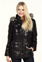 DKNY Belted Faux Fur Trim Cire Jacket (Black) - Apparel