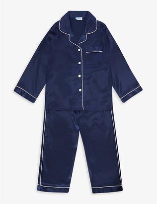 Mini Lunn Contrast-piping satin pyjamas 2-11 years