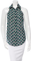 Derek Lam 10 Crosby Printed Sleeveless Button-Up