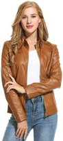 HOTOUCH Womens Soft Leather Biker Jacket S