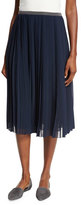 Peserico Pleated Plisse Knee-Length Skirt, Navy