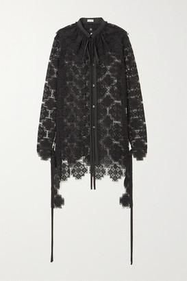 Loewe Ruffled Cotton-blend Lace Blouse - Black