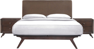 Modway Tracy 3Pc Queen Upholstered Fabric Wood Bedroom Set