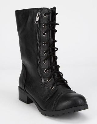 Soda Sunglasses Lace Up Black Womens Combat Boots