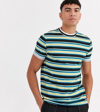 ASOS DESIGN Tall organic cotton stripe t-shirt with tipped neck and roll sleeve