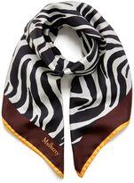 Mulberry Zebra Square White Silk Twill