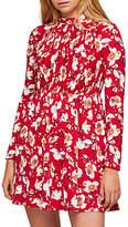 Miss Selfridge Floral Print Sheered Tea Dress, Red