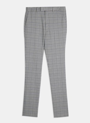 Topman BIG & TALL Grey Check Skinny Suit Trousers