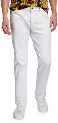 Versace Men's Slim Jeans with Metallic Stitching