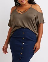 Charlotte Russe Plus Size Caged Cold Shoulder Tee