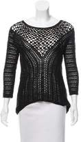 Nicole Miller Metallic-Accented Open Knit Sweater