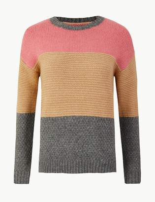 M&S CollectionMarks and Spencer Colour Block Round Neck Jumper