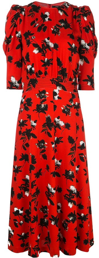 Derek Lam Floating Floral Puff Sleeve Midi Dress