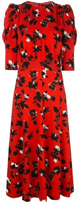 Derek Lam Puff-Sleeve Floral-Print Dress