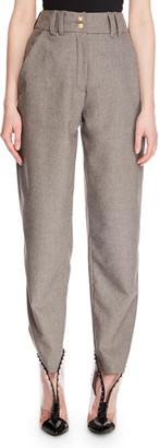 Balmain High-Waist Zip-Front Tapered-Leg Wool Suit Pants