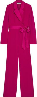 Diane von Furstenberg Monica Wrap-effect Satin-trimmed Crepe Wide-leg Jumpsuit