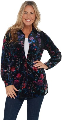 Belle By Kim Gravel Floral Print Velvet Button Front Big Shirt