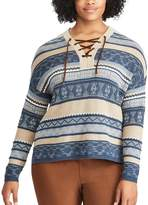 Chaps Plus Size Striped Lace-Up Sweater