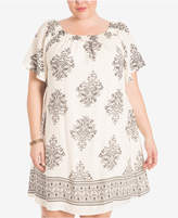 Eyeshadow Trendy Plus Size Printed Shift Dress