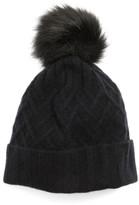 Halogen Women's Cashmere Beanie With Faux Fur Pom - Black
