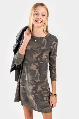 francesca's franki Camo Mini Dress for Girls - Olive