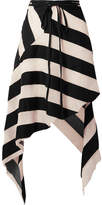 Marques Almeida Marques' Almeida - Asymmetric Striped Cotton And Silk-blend Gauze Midi Skirt - Black
