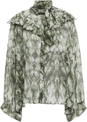Nili Lotan Pussy-bow Snake-print Silk-chiffon Blouse