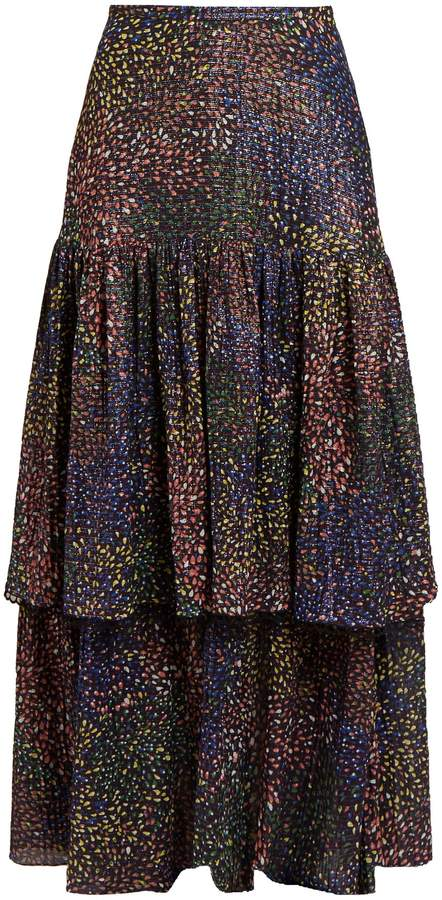 Chloé Abstract-print voile maxi skirt