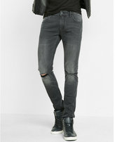 Express skinny fit super skinny leg gray ripped jeans