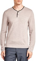 The Kooples Merino Wool Leather Trim Skull Snap Henley Sweater