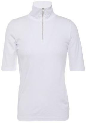 Vince Zip-detailed Pima Cotton-jersey Top