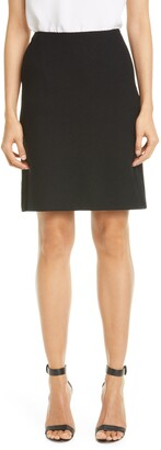 St. John Micro Floral Knit A-Line Skirt
