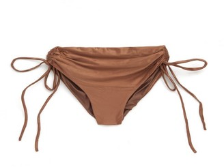 Isa Boulder Lester Ruched Side-tie High-rise Bikini Briefs - Brown