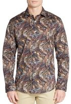 Bugatchi Shaped-Fit Abstract-Print Cotton Sportshirt