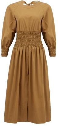 Three Graces London Arianna Smocked Cotton-poplin Midi Dress - Brown