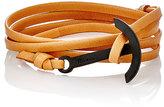 Miansai Men's Modern Anchor On Leather Wrap Bracelet-BROWN