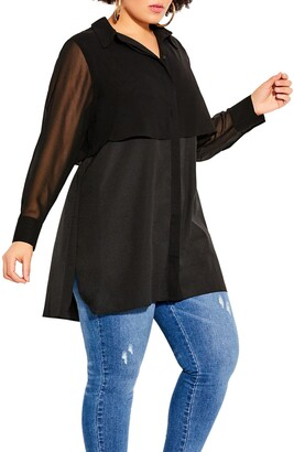 City Chic Fly Away Layered Look Shirt