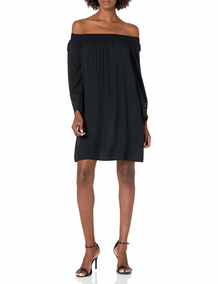 James & Erin Women's Off The Shoulder Shift with Embroidery Detail