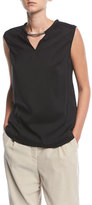 Brunello Cucinelli Sleeveless Stretch Silk Tank Top w/ Monili Detail