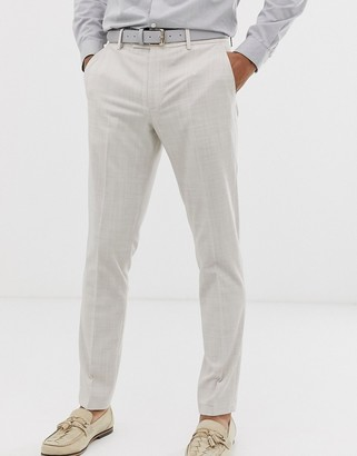 ASOS DESIGN wedding skinny suit trousers in taupe cross hatch