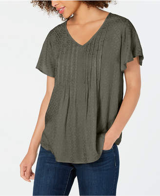Style&Co. Style & Co Petite Textured Flutter-Sleeve Top