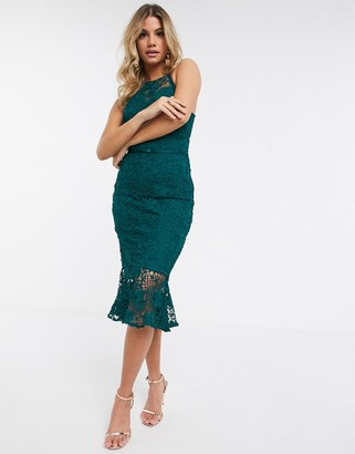 Lipsy lace halterneck midi dress