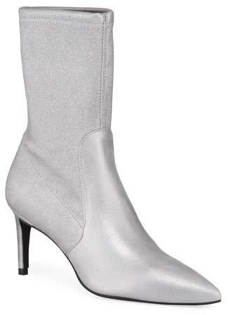 Stuart Weitzman Wren Metallic Stretch-Suede Sock Booties
