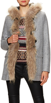 Maje Wool Hooded Toggle Coat with Fur Trim