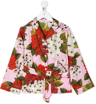 Dolce & Gabbana Kids Floral-Print Pyjama Style Top